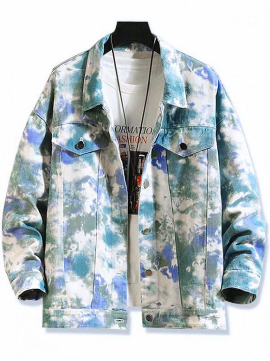 latest Tie Dye Print Chest Pocket Stitching Jean Jacket - GREEN PEAS L