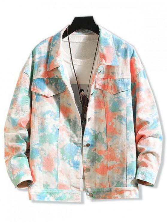 online Tie Dye Print Chest Pocket Stitching Jean Jacket - PINK L