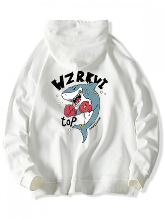 women's Cartoon Shark Boxing Letter Print Drawstring Hoodie - WHITE XS