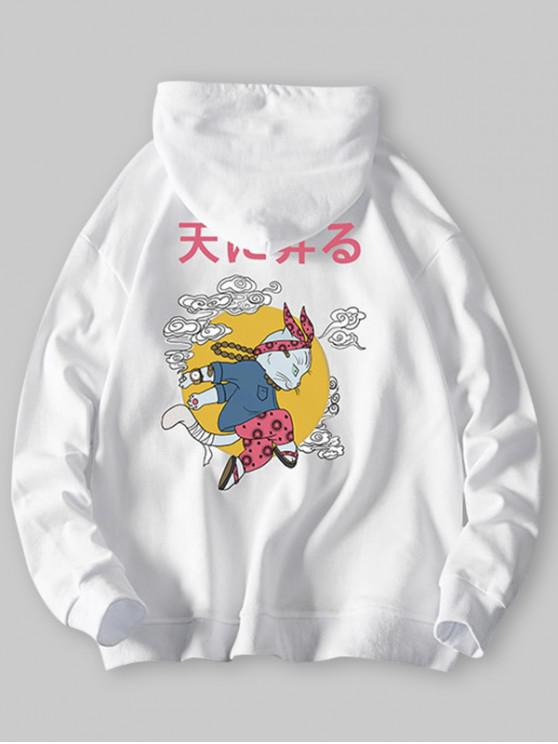 lady Cartoon Cat Cloud Letter Graphic Hoodie - WHITE XS