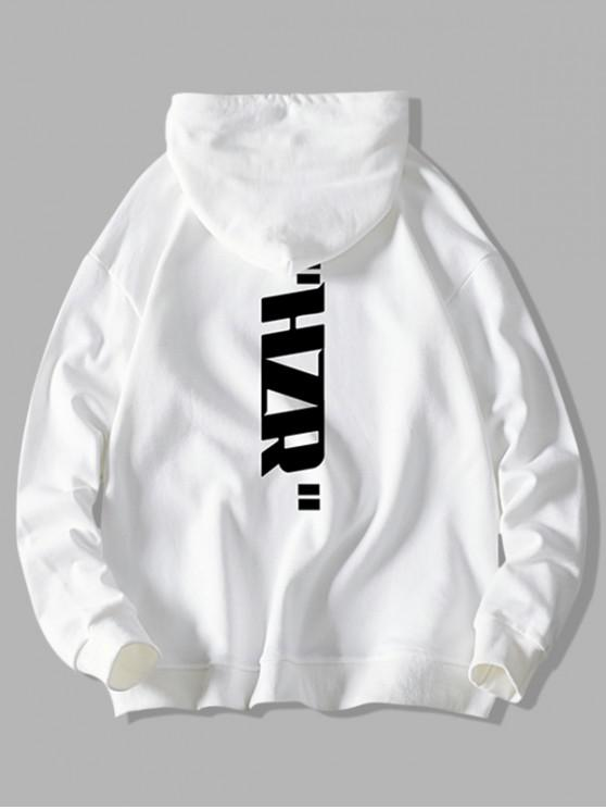 affordable Drawstring Letter Graphic Print Hoodie - WHITE XS