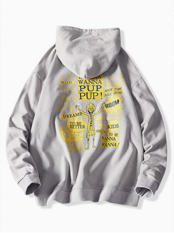 women's Cartoon Character Letter Graphic Print Casual Hoodie - PLATINUM XS