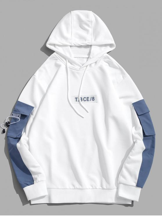 outfits Casual Letter Pattern Color Spliced Hoodie - WHITE S