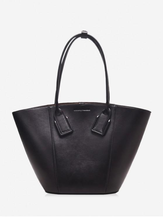 shop Solid Color PU Leather Shell Handbag - BLACK