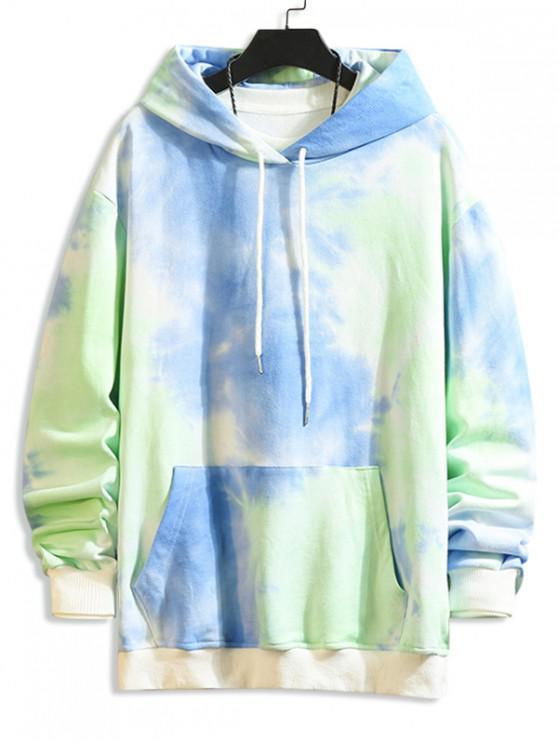 hot Tie Dye Print Kangaroo Pocket Drawstring Hoodie - AZURE XS