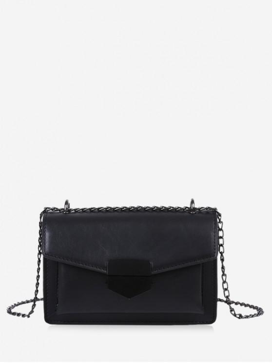 fashion Faux Leather Flap Crossbody Bag - BLACK