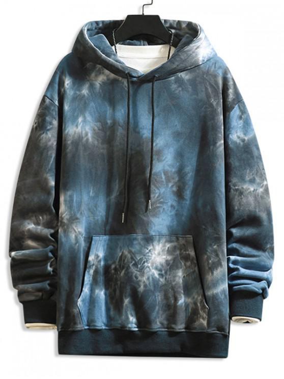 Tie Dye Print Cangurul Pocket Cordon Hoodie - Negru L