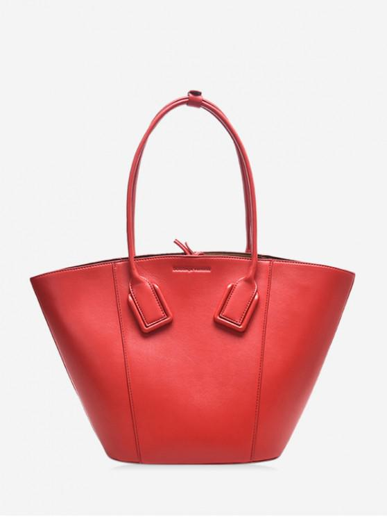 shop Solid Color PU Leather Shell Handbag - RED