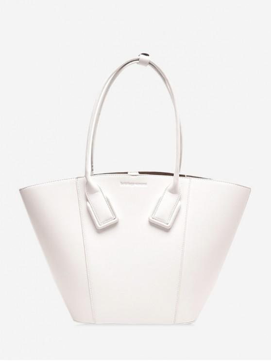 buy Solid Color PU Leather Shell Handbag - WHITE
