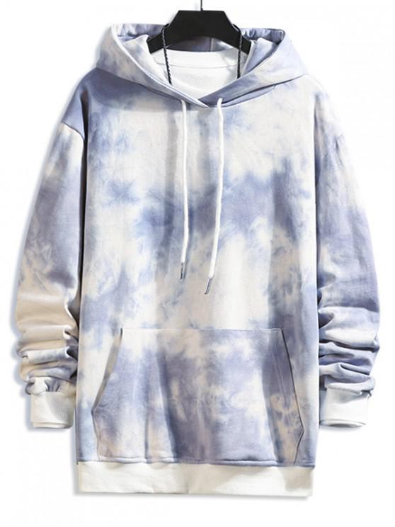 hot Tie Dye Print Kangaroo Pocket Drawstring Hoodie - GRAY M