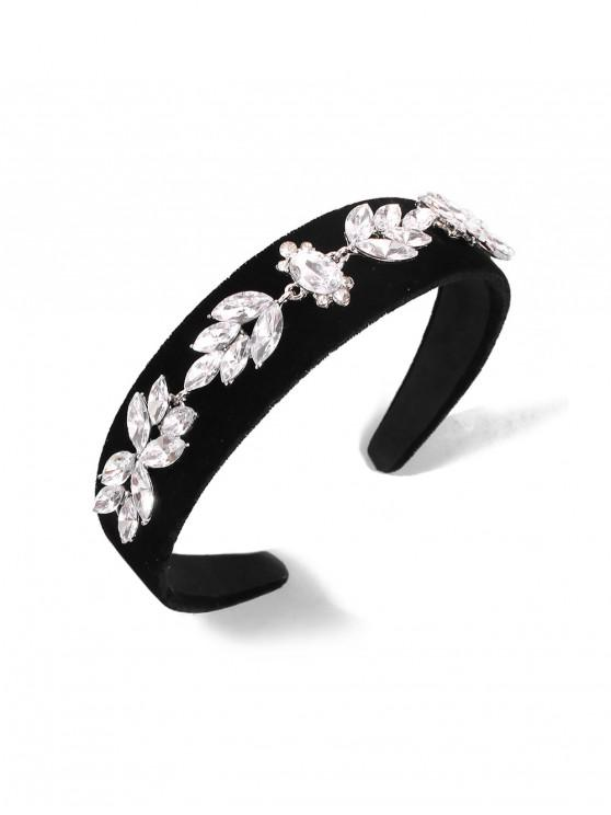 latest Rhinestone Floral Velour Wide Hairband - BLACK
