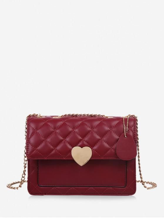 fashion Quilted Heart Chain Crossbody Bag - RED WINE