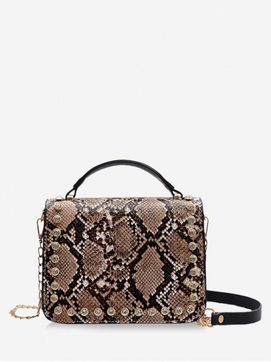 fancy Square Snakeskin Pattern Shoulder Bag - LIGHT KHAKI