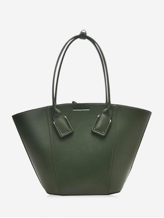 online Solid Color PU Leather Shell Handbag - MEDIUM SEA GREEN