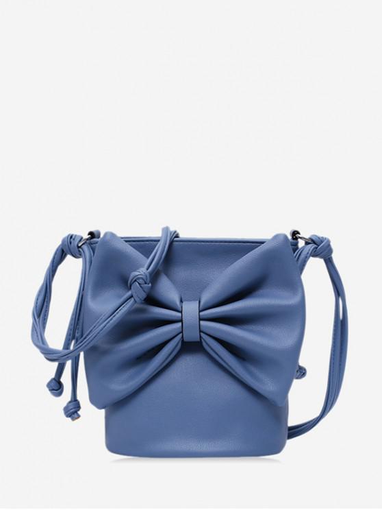 latest Bowknot PU Square Cross Body Bag - LAPIS BLUE