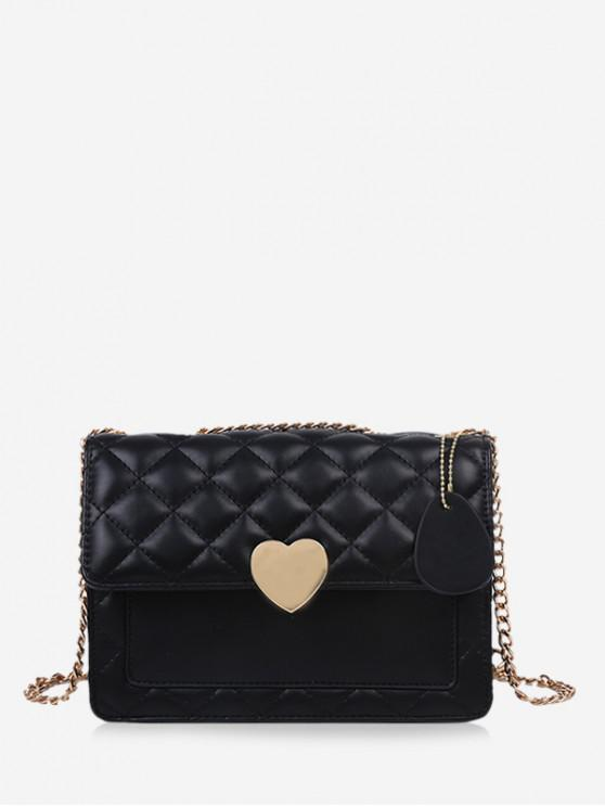 Quilted หัวใจเชน Crossbody กระเป๋า - สีดำ