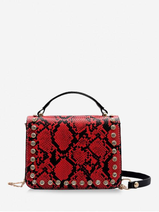 fancy Square Snakeskin Pattern Shoulder Bag - RED