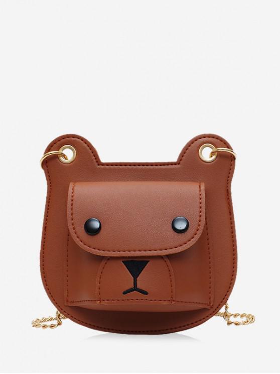 affordable Bear Pattern Chain Crossbody Bag - BROWN