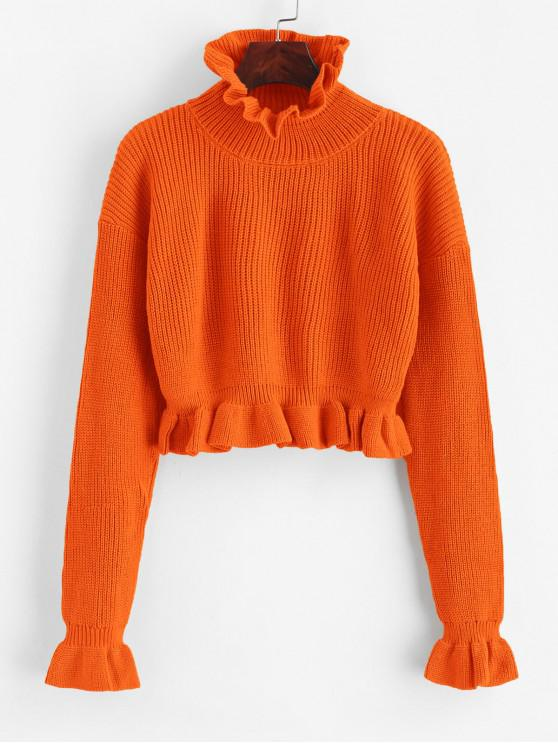 best Solid Ruffled Pullover Sweater - ORANGE M