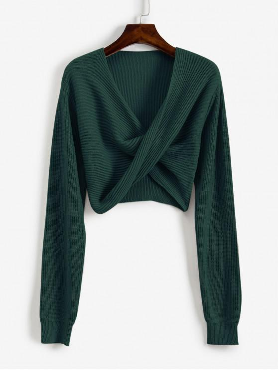 fancy V Neck Cropped Twist Front Sweater - GREEN S