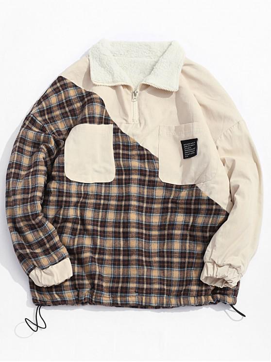 shop Plaid Print Pocket Design Casual Jacket - APRICOT XL