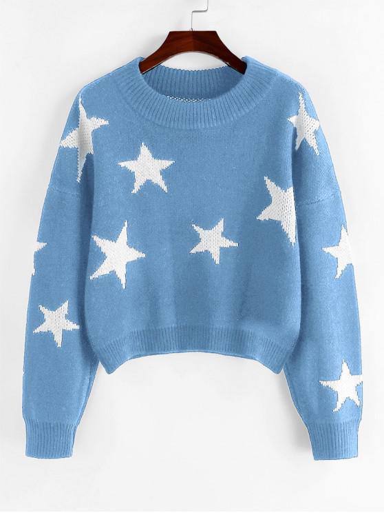lady ZAFUL Star Drop Shoulder Jumper Sweater - BLUE KOI S