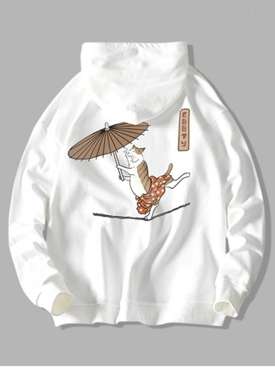 best Drawstring Dancing Cat with Umbrella Fish Print Hoodie - WHITE L