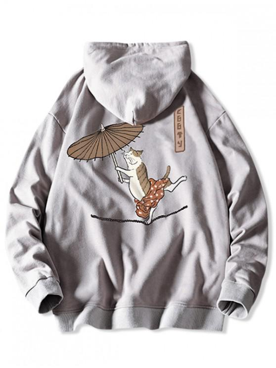 unique Drawstring Dancing Cat with Umbrella Fish Print Hoodie - PLATINUM M