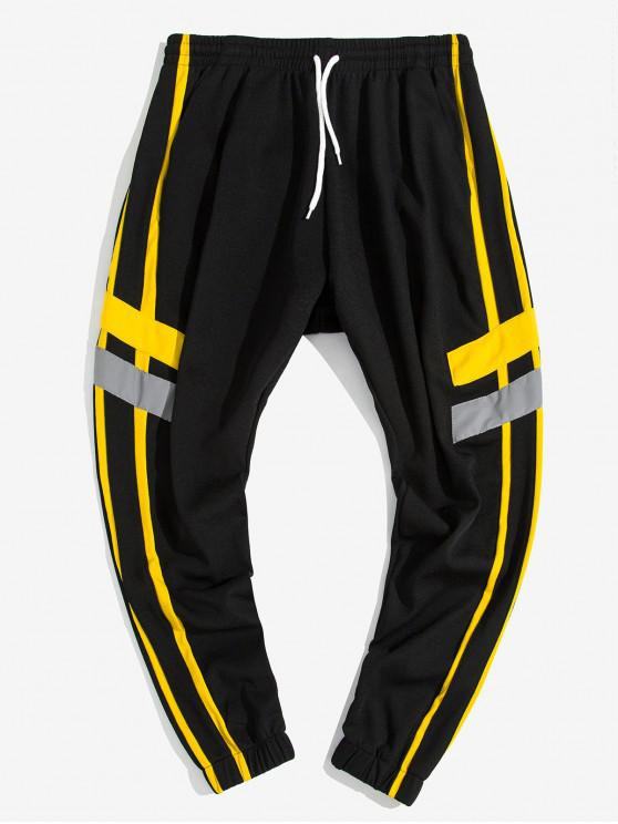 outfit Contrast Stripe Letter Print Casual Jogger Pants - YELLOW L