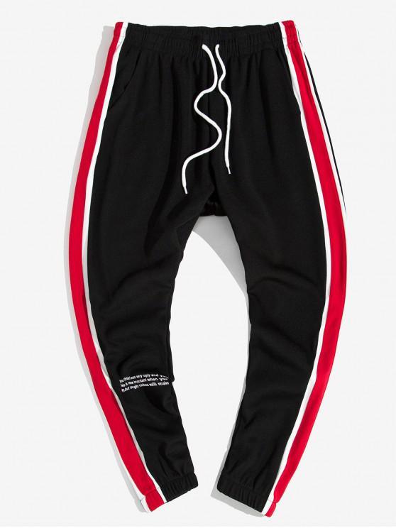 Side colorblock înnădite Scrisoare Imprimare Pantaloni Jogger Casual - roșu L