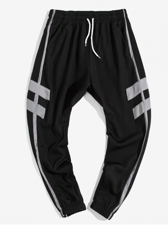 latest Contrast Stripe Letter Print Casual Jogger Pants - GRAY XL