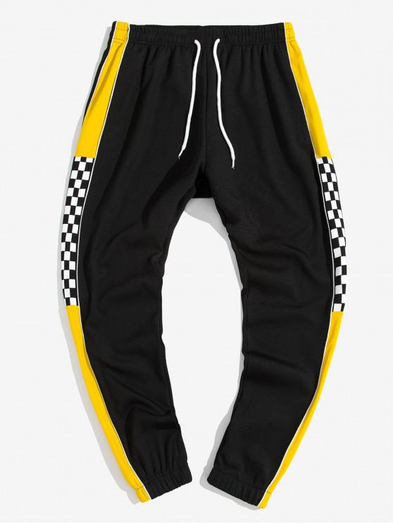 trendy Colorblock Spliced Checkered Print Jogger Pants - YELLOW L