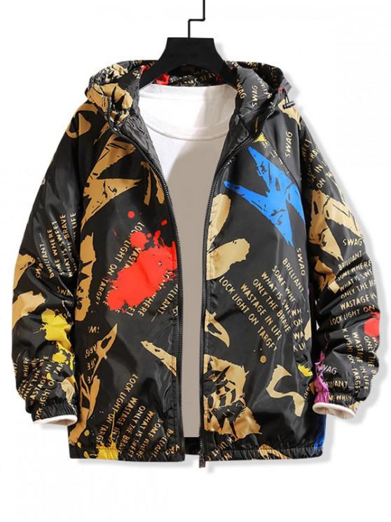 online Letter Paint Splatter Print Raglan Sleeve Hooded Quilted Jacket - GREEN 2XL