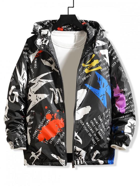 womens Letter Paint Splatter Print Raglan Sleeve Hooded Quilted Jacket - WHITE L