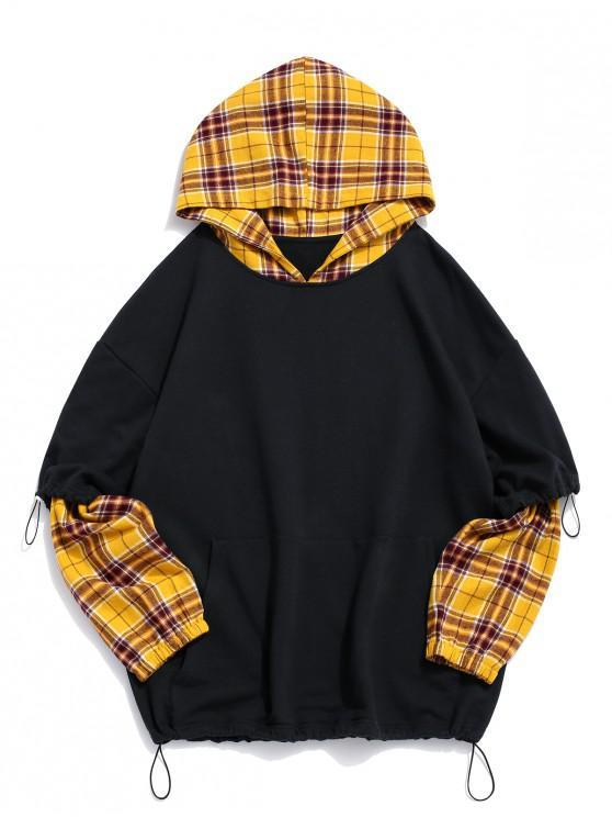 fashion ZAFUL Plaid Spliced Letter Print Drop Shoulder Faux Twinset Hoodie - MULTI 2XL