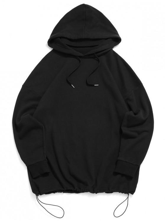 sale ZAFUL Solid Drawstring Drop Shoulder Hoodie - BLACK L