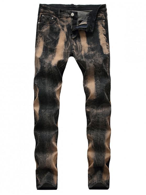 fancy Zip Fly Painting Splatter Print Long Jeans - BLACK 34