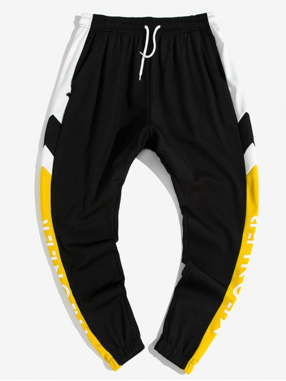 shops Colorblock Splicing Letter Graphic Print Jogger Pants - YELLOW XL