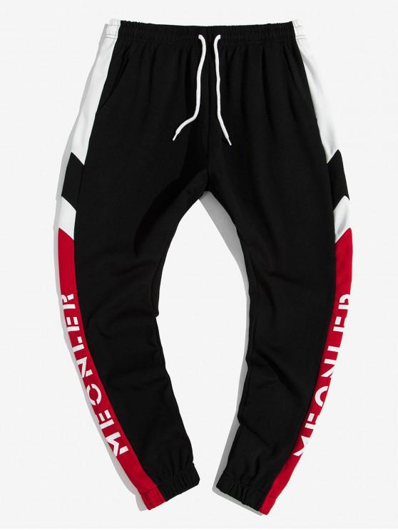 Colorblock Matisirea Scrisoare grafice Pantaloni Print jogger - roșu L
