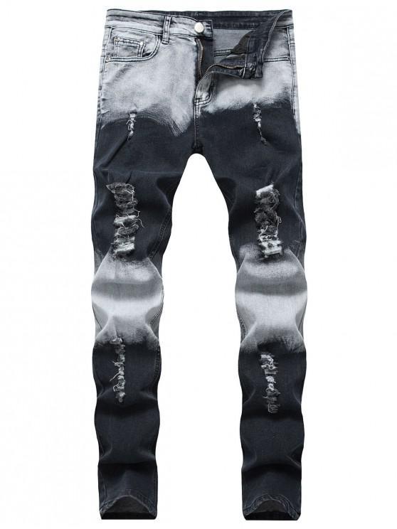 chic Ripped Faded Wash Long Denim Pants - DENIM DARK BLUE 36