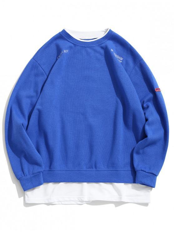 online Letter Embroidery Graphic Colorblock Faux Twinset Sweatshirt - BLUE XL