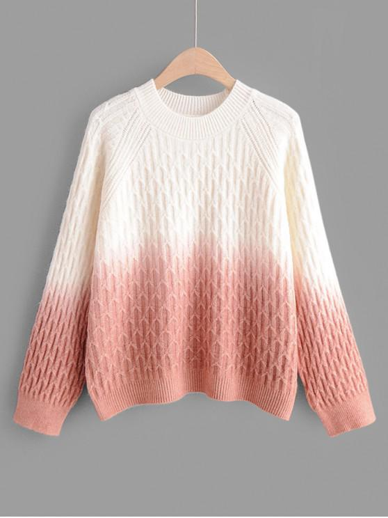 lady Crew Neck Raglan Sleeve Ombre Jumper Sweater - ORANGE PINK ONE SIZE