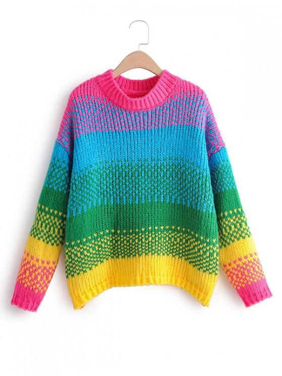 best Colorful Chunky Knit Crew Neck Sweater - MULTI-A ONE SIZE