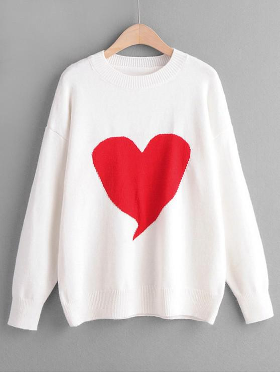 shops Crew Neck Intarsia Knit Heart Graphic Jumper Sweater - WHITE ONE SIZE