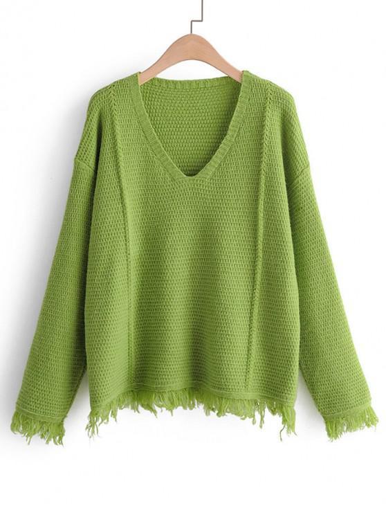 unique Plain Tassel Hem Drop Shoulder Sweater - GREEN ONE SIZE
