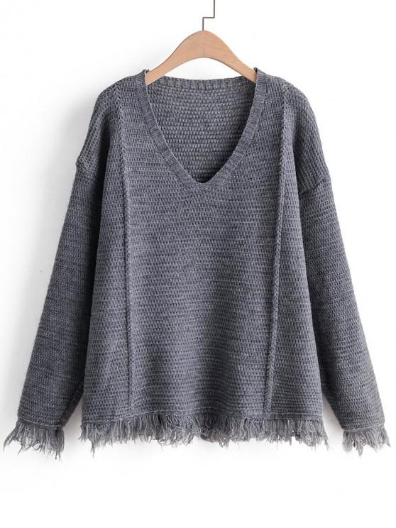 women's Plain Tassel Hem Drop Shoulder Sweater - GRAY ONE SIZE