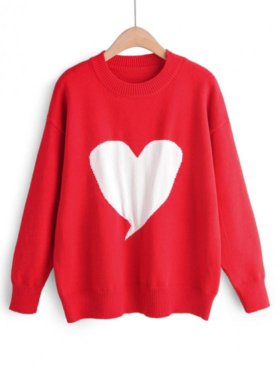 lady Crew Neck Intarsia Knit Heart Graphic Jumper Sweater - RED ONE SIZE