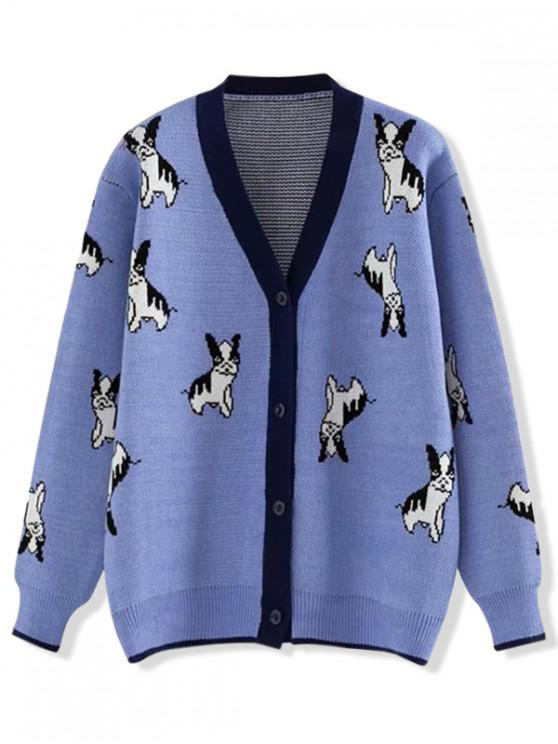 best Button Up V Neck Puppy Dog Graphic Cardigan - BLUE ONE SIZE