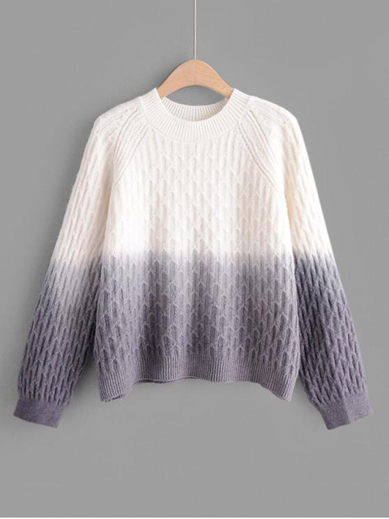 hot Crew Neck Raglan Sleeve Ombre Jumper Sweater - GRAY ONE SIZE