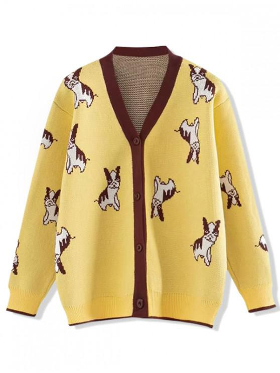 outfit Button Up V Neck Puppy Dog Graphic Cardigan - YELLOW ONE SIZE